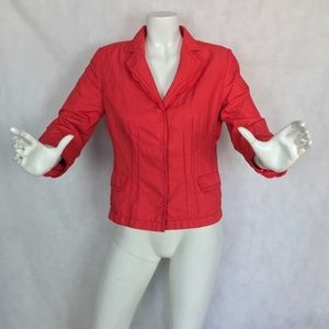 Elie Tahari Jacket Blazer Red Cotton Snap Button